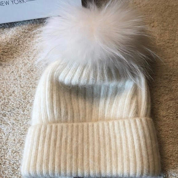 8f04aa895a558 Classic Ribbed Beanie with Coyote Fur Pom-Pom